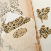Scotch Rose Flower illustrated kraft stickers, Elegant Vintage Style Stickers