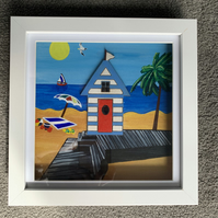 Hand Painted Beach Hut Small Shadow Box Frame - Coastal Picture - Painting