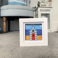Hand Painted Beach Hut Mini Shadow Box Frame - Coastal Picture - Painting