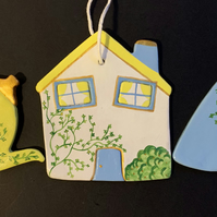 Hanging Ceramic Decoration Set: Tea Party - House, Teapot and Cup