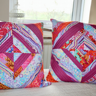 Strip-Quilted Patchwork Scatter Cushion Covers -17inch Square