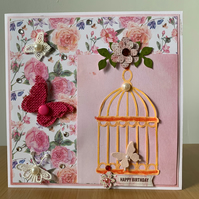Butterfly cage birthday card