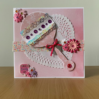 Pink rattle card