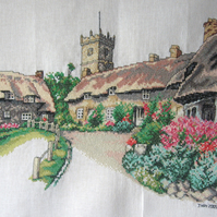 Handmade Completed Cross Stitch 'West Country Village Scene'