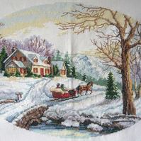 Handmade Completed Cross Stitch 'New England Winter Scene'