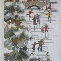 Handmade Completed Cross Stitch 'New England Skaters'