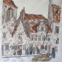 Handmade Completed Cross Stitch 'Dutch Street Scene'