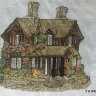 Handmade Completed Cross Stitch 'Gardener's Cottage at Chatsworth'