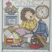 Handmade Completed Cross Stitch 'Last Minute'