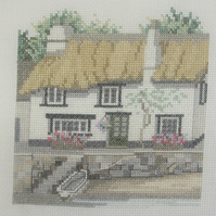 Handmade Completed Cross Stitch 'Cottage On The Quay'