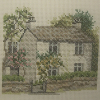 Handmade Completed Cross Stitch 'Honeysuckle Cottage'