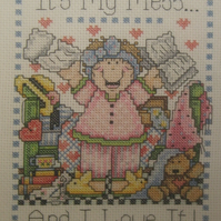 Handmade Completed Cross Stitch 'My Mess'
