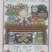 Handmade Completed Cross Stitch 'Work Fascinates Me'