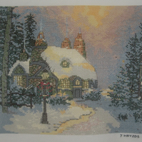 Handmade Completed Cross Stitch 'Winter Cottage'