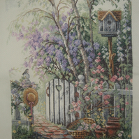 Handmade Completed Cross Stitch 'Lilac'