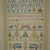 Handmade Completed Cross Stitch 'Sampler ABC'