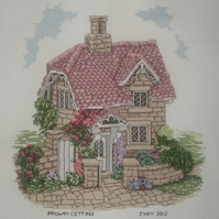Handmade Completed Cross Stitch 'Railway Cottage'
