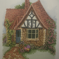 Handmade Completed Cross Stitch 'Flower Pot Cottage'