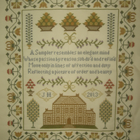 Handmade Completed Cross Stitch 'Sampler Poem'