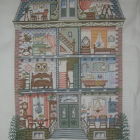 Handmade Completed Cross Stitch 'Inside The House'