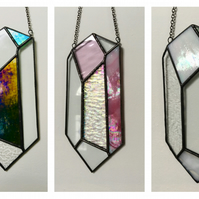 Stained Glass Iridescent Gemstone Crystal Wall Hanging Suncatcher