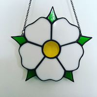 White Yorkshire Rose Stained Glass Suncatcher Wall Hanging Rose of York