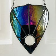 Stained Glass Black Iridescent Planchette Wall Hanging Suncatcher