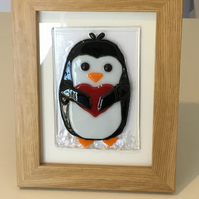 Fused Glass Penguin with love heart