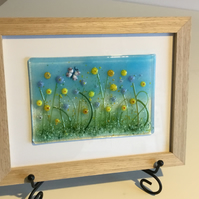Fused Glass Meadow Flowers and Butterfly