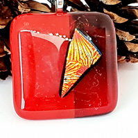 Fused glass red and gold dichroic pendant