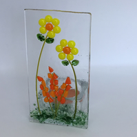 Fused glass flower tea-light holder