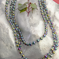 3 strand rainbow hematite necklace