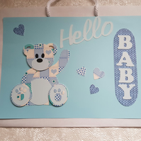 Hand decorated quality paper gift bag, Baby Boy