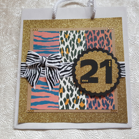 Hand decorated animal print quality paper gift bag, can be personalised