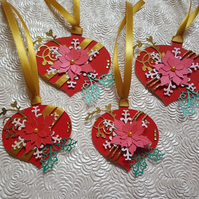 Set of 4 paper Christmas baubles, hanging decoration