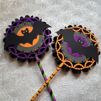 Set of 2 Halloween rosettes, hanging or on a wand - your choice