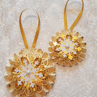 Set of 2 Gold Christmas rosettes, hanging or on a wand - your choice