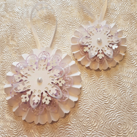 Set of 2 Lilac and White Christmas rosettes, hanging or on a wand - your choice