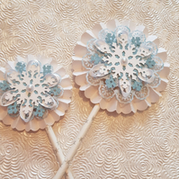 Set of 2 Blue and White Christmas rosettes, hanging or on a wand - your choice