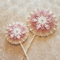 Set of 2 Pink and White Christmas rosettes, hanging or wand - your choice