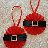 Set of 2 Santa Christmas rosettes, hanging or wand - your choice