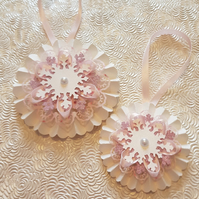 Set of 2 Pastel Pink and White Christmas rosettes, hanging or wand - your choice
