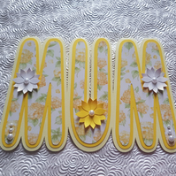 Yellow MUM shaped card for birthday or Mother's Day