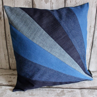 "Patchwork Denim ""Sunburst"" Cushion Cover. Art Deco Style Pillow Case."