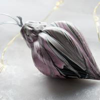 Hand-marbled ceramic bauble 5