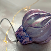Hand-marbled ceramic bauble 7