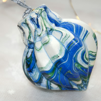 Hand marbled ceramic bauble 16