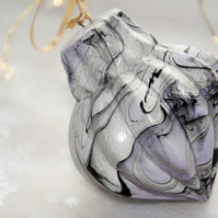 Hand marbled ceramic bauble 13