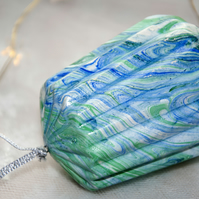 Hand marbled ceramic bauble 18