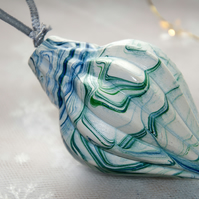 Uniquely hand marbled bauble 26